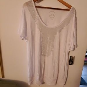 INC NWT Sheer White Beaded Blouse - 2X
